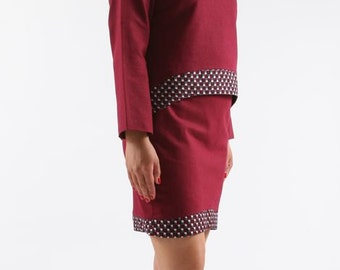 set skirt and tunic in linen and cotton yoke wax