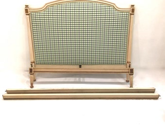 French Louis XVI Style Distressed Ivory & Gold Full Size Bed Frame Upholstered in a Plaid Fabric