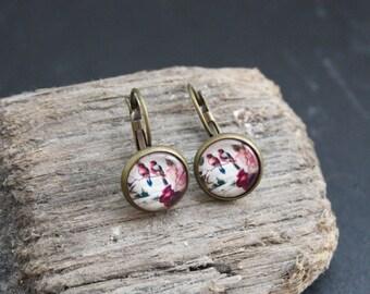 """Cabochon earrings """"vintage birds"""" 12 mm"""