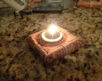Wine cork tea light candle base