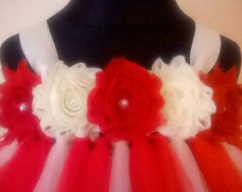 Flower Girl Dress Party Dress Baby Girl Tutu Wedding Birthday Toddler Bridesmaid Ivory Red Pearl Flowers MOST COLOURS