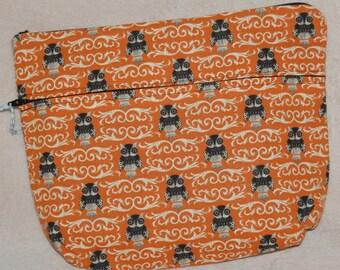 Owls on Orange Toiletry Bag