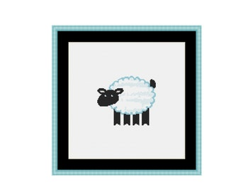 Black-faced Sheep Cross Stitch Pattern, Instant Digital Download Counted Cross Stitch Chart, Embroidery (P-130)