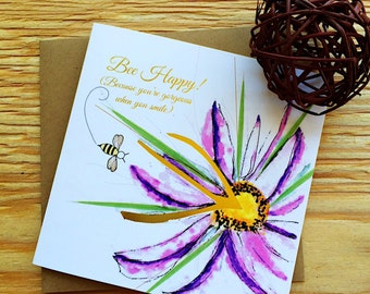 "Bee Happy | Friendship | Encouragement | Just Because Card | ""Bee-Attitudes"" by Love Bee"