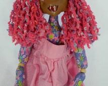 Stuffed doll, girl doll, cloth doll, stuffed fabric doll, doll with painted face, purple stuffed doll, plush doll, flowered doll
