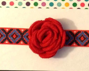 Red Felt Rosette headband