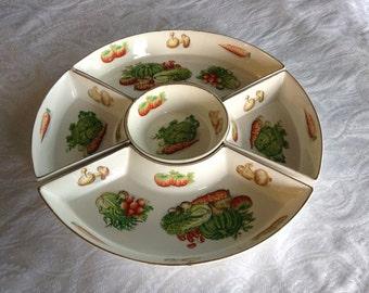 Vintage Veggie and Dip Crudite' Dish