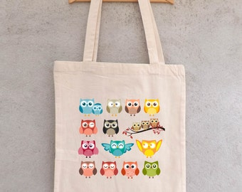 """Tote Bag""Family owls""or"" family fun ""- shopping bag - bag shopping bag - shopping bag - cotton bag"