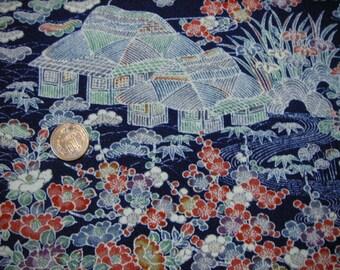 207: Vintage Yuzen kimono/a full roll cloth/silk/fabric/chirimen/Japanese apricot/ume/flower/japanese country house/unused/doll/handmade