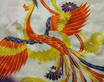 233: Japanese kimono/furisode/rayon fabric/flower/phoenix/purple/white/gold/chrysanthemum/cloud/handmade/material