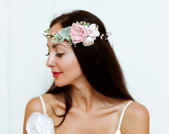 Pink white flower crown Flower headband Flower hair wreath Boho floral crown Wedding flower crown Bridal floral crown