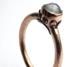 The Nono - Gilded bronze stone ring rose cut 5mm