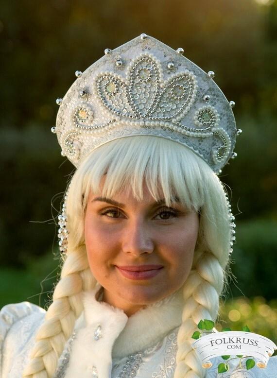 Snow Maiden hat Kokoshnik, Snow Maiden crown, Snow Maiden headdress, Snegurochka crown, Snegurochka hat, Christmas crown