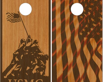 Marines Stained wood LAMINATED Cornhole Wrap Bag Toss Decal Baggo Skin Sticker Wraps