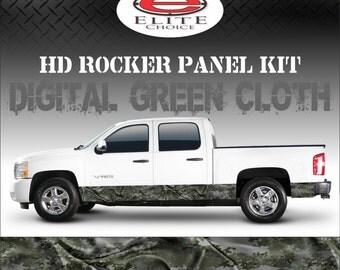 "Digital Green Cloth Camo Rocker Panel Graphic Decal Wrap Truck SUV - 12"" x 24FT"