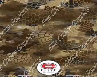 "Chameleon Hex Desert 15""x52"" or 24""x52"" Truck/Pattern Print Tree Real Camouflage Sticker Roll or Sheet"