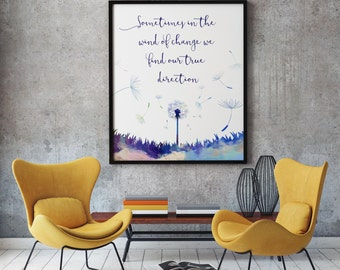 sometimes in the wind of change we find our true direction printable,  dandelion print, inspirational quote, Instant download, blue art