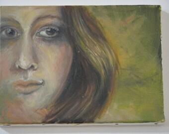 GREEN SHOT of a woman's face, portrait, Ritratto di donna
