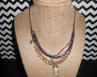 Purple Accented Owl Necklace