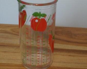 Glass dispenser Henkel 3 apples red and green - Vintage