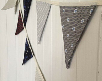 Fabric Bunting - Grey Tones