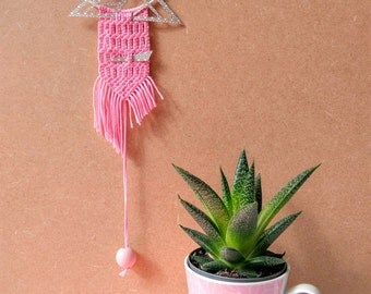 Hanging macramé, weaving, Bohemian, graphic, modern macrame, cut paper
