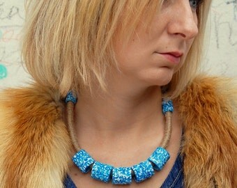 Statement necklace Blue Boho necklace Bohemian Unique handmade jewelry Summer necklace Unique handmade jewelry Perfect gift for her Gzhel