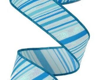 """1.5""""X10yd Glitter Diagonal Lines  Blue RG154003"""