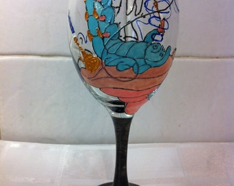 Alice in Wonderland Caterpillar Large Hand Painted Wine Glass