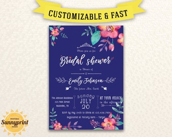 Bridal shower invitation printable - Bridal shower invitation template - Floral bridal shower invitation - Watercolor Luncheon Shower - DIY