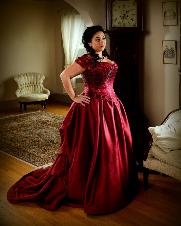 Plus size bridal corset gown bustled long train wedding skirt for Corset wedding dresses plus size