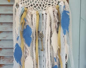 Boho Blue Felt Flower Dream Catcher