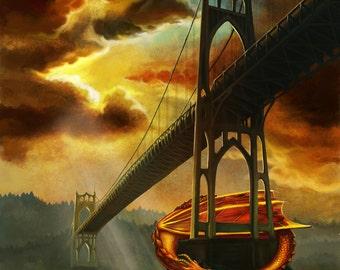 Portland Bridge Dragon art print // pigment print, archival, 5x7 8x10 11x14 // Oregon art, fantasy art, dragon, St Johns Bridge, bridge art