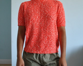 Vintage sm/md bright salmon colored turtleneck shirt