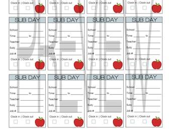 Substitute Teacher Full Box Printable Stickers for Erin Condren Planner Download PDF