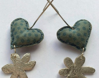 Ooak Hearts and Flowers Sterling Silver and Turquoise Fabric Ear Wire Earrings