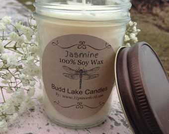 Jasmine scent 100% Soy Candle/8 oz jelly jar/33 burn hours/ecofriendly