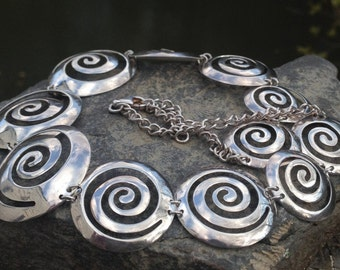 Vintage Sterling Silver Collar Necklace – Spiral Necklace - Bold – Statement Necklace – Special Occasion Necklace – WhistlingGypsyVTG