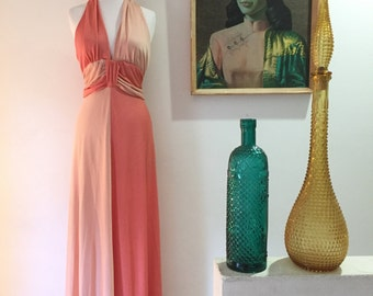 Vintage 1970s Grecian style maxi dress evening gown disco dress