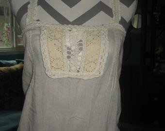 Crochet on muslin fabric very cute old top
