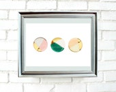 Gold dipped circles, Printable wall art,poster,Instant Download,geometric wall decor, 5 different sizes for the price of 1.Modern deco