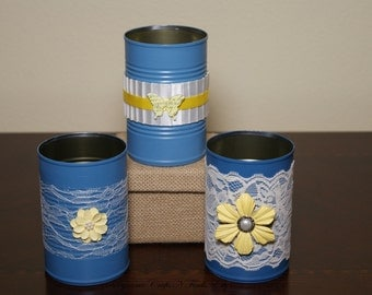 Shabby Chic Tin Cans - 3 blue with yellow accents