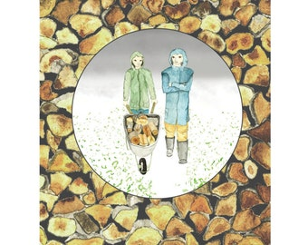 Collecting Wood Together - Greeting Card