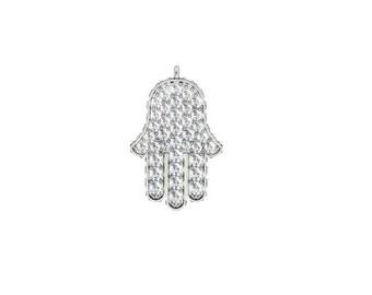 Diamond Hamsa Pendant, Pendant, Lucky Necklace, Hand of God, Diamond necklace