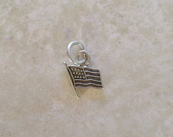American Flag Charm ~ Sterling Silver Jewelry .925 (#191) Stars and Stripes, Patriotic, Old Glory, United States, Pride in America