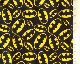 Batman Logo Fabric, Black Batman Fabric, 100% Cotton Batman Emblem Logo Fabric by the Yard, Batman Logo Fabric by David Textiles Remnant