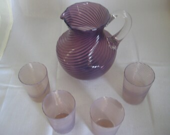 Handblown pitcher and 4 tumblers - Lilac/Purple swirl - Pilgrim?