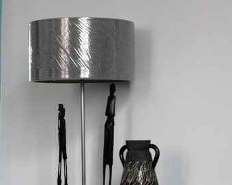 Lamp contemporary metal with African statues in wood, iridescent grey shade, LM150148