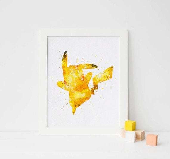 Pokemon Wall Decor pikachu, pokemon print watercolor pokemon printable pikachu wall