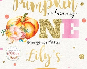 Our Little Pumpkin is Turning One First Birthday Digital + Printable Invitation Design
